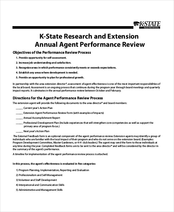 agent-performance-review-template