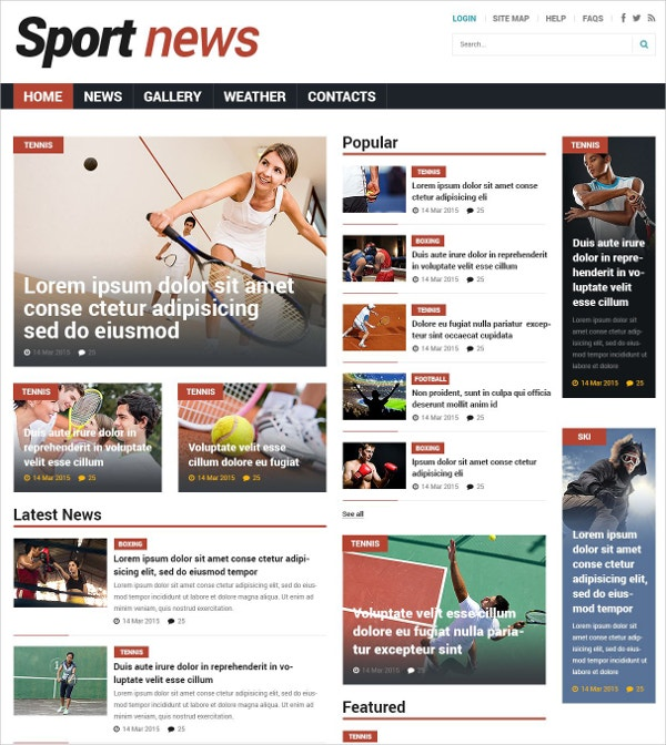Premium Sports News Joomla Template $75