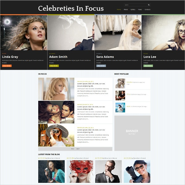 Celebrity Gossip News Joomla Template $75