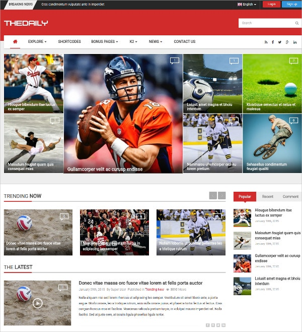 Responsive Sports News Portal Joomla Template $48