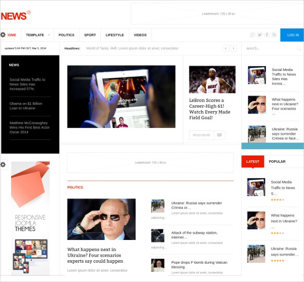 Multipurpose News Joomla Theme