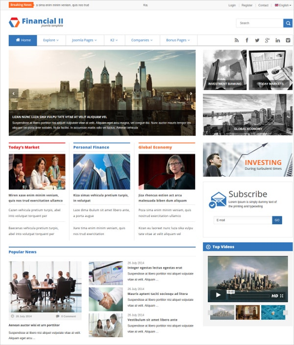 Financial & Stock Exchange News Joomla Theme $48