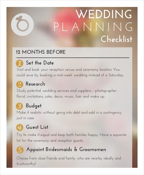 Wedding Planner Checklist - 12+ Free Word, Pdf, Psd Documents