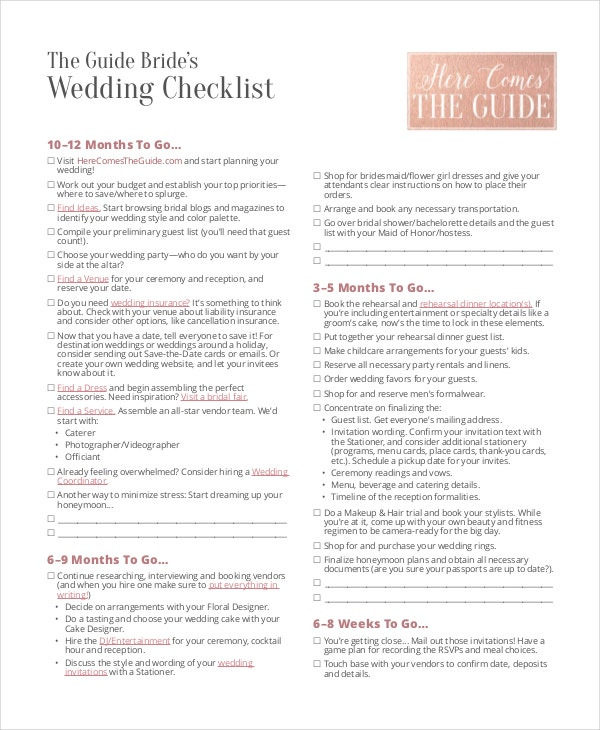 Wedding Brideu0027s Checklist In PDF