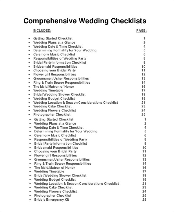 Wedding Planner Checklist   Free Word  Psd Documents