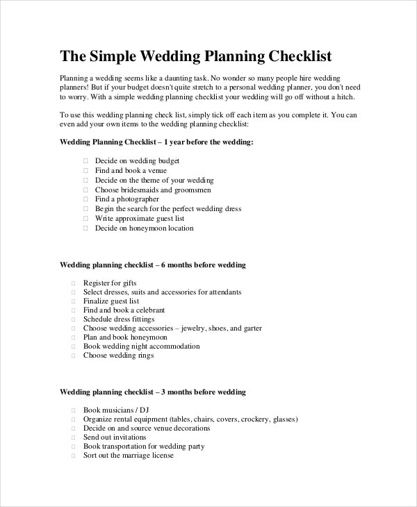 Wedding Planner Checklist   Free Word Pdf Psd Documents