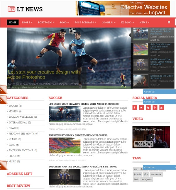 Free News Premium Joomla Template