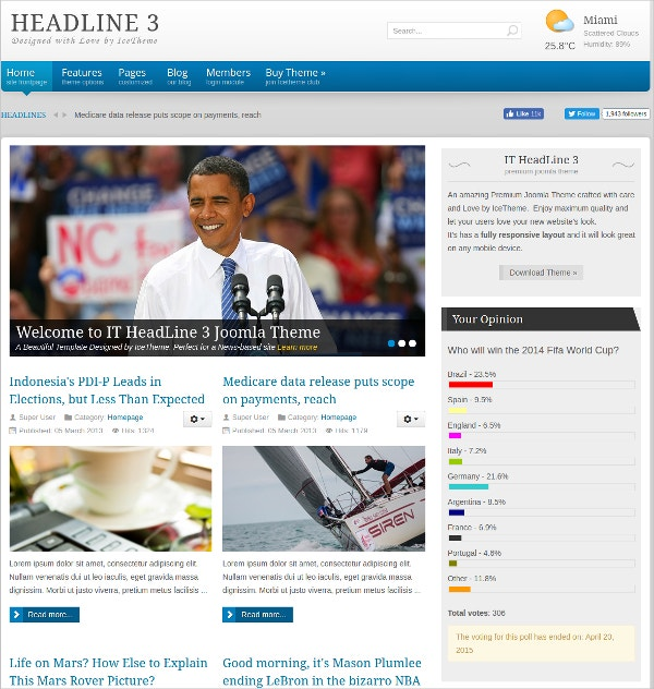 Politics, Sports News Joomla Template