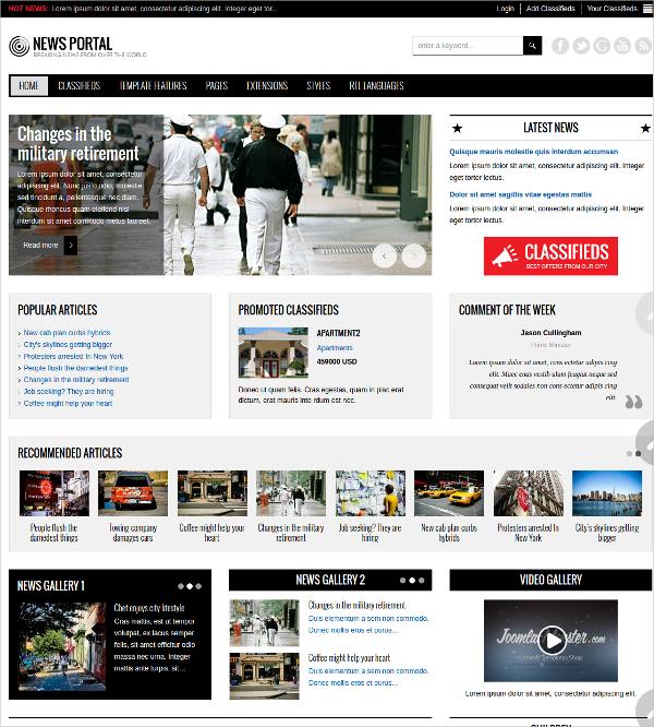 Minimalist News Joomla Template