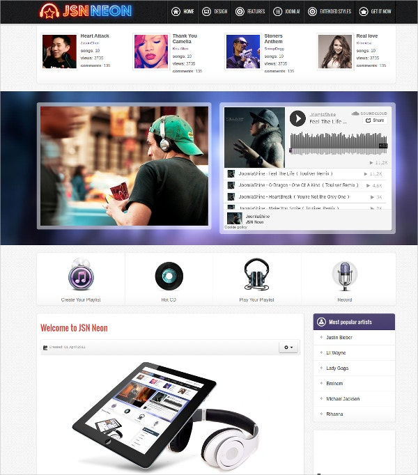 music news joomla template