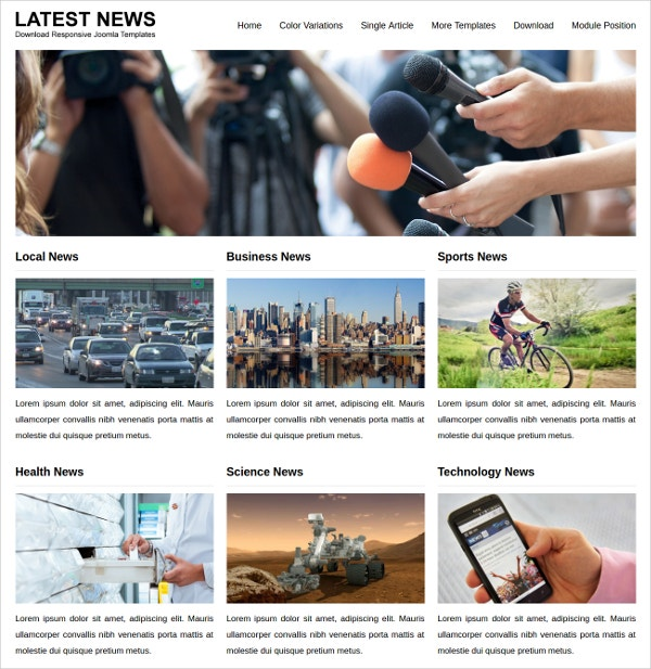 news joomla template to download