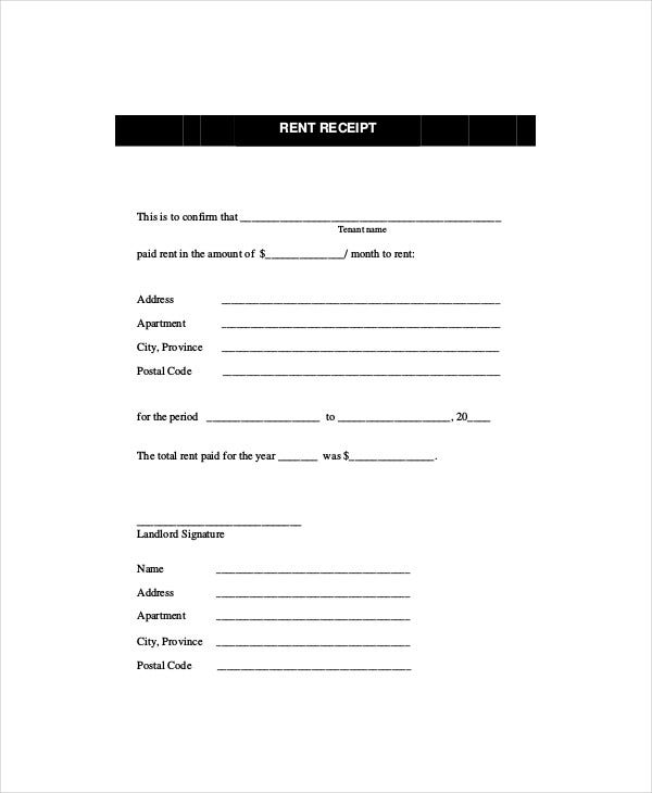 Rent Receipt Template 8 Free Word PDF Documents Download – Rental Payment Receipt