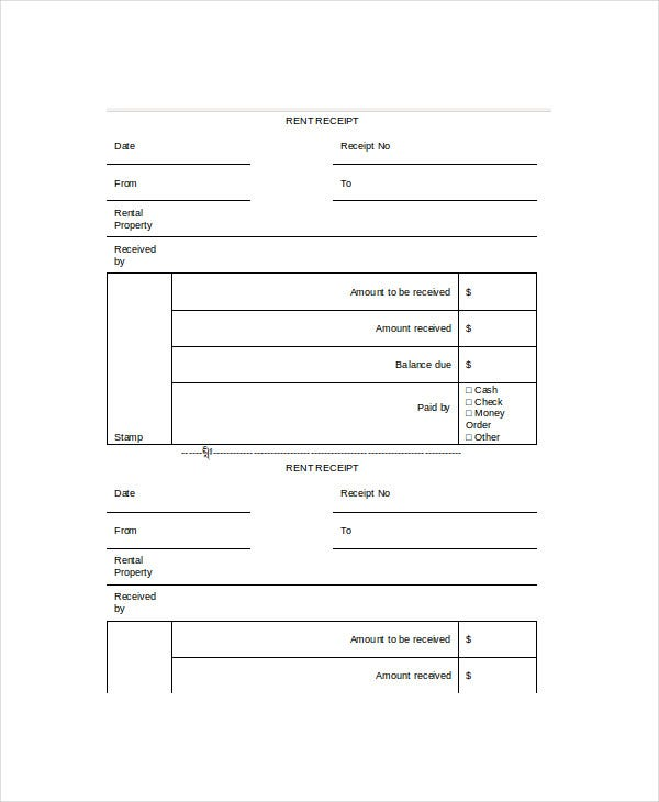 Blank Rent Receipt Template