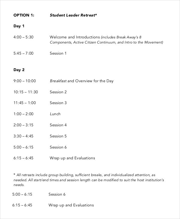 Retreat Agenda Template   Free Word Pdf Documents Download