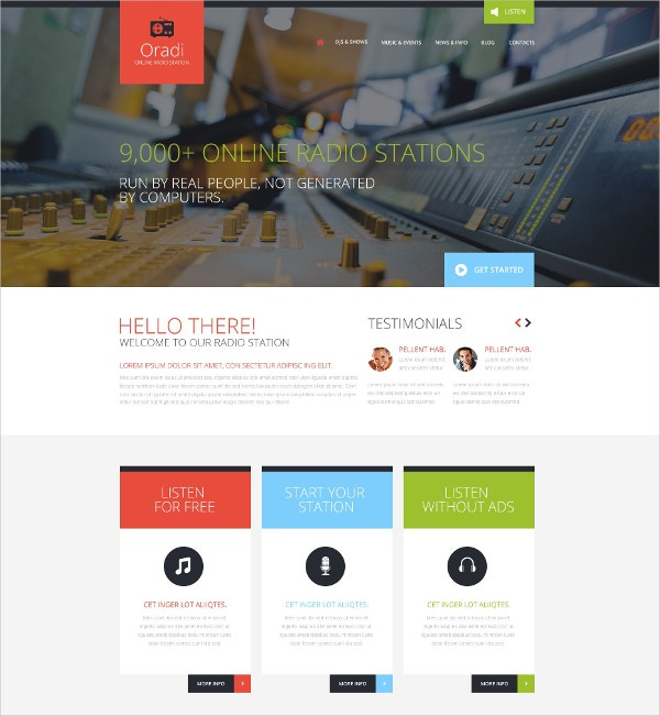 Online Radio Station Website Template $75