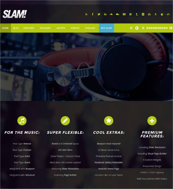 Radio Station & Soundcloud WordPress Website Theme $59