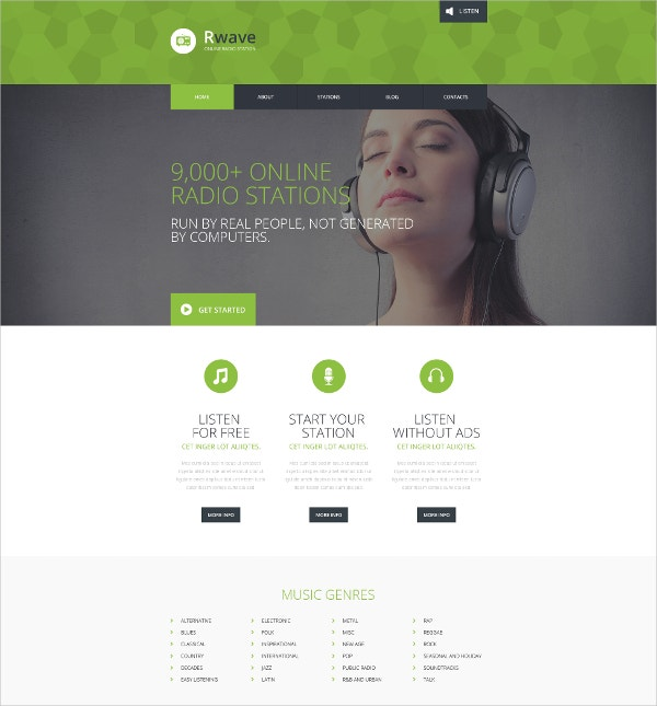 Responsive Radio Station Website Template $75