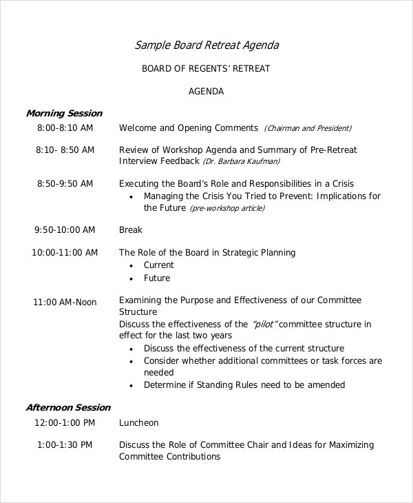 Board Retreat Agenda Template