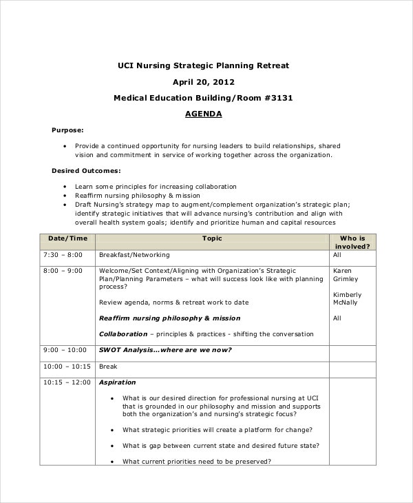 Nursing Strategic Planning Retreat Agenda