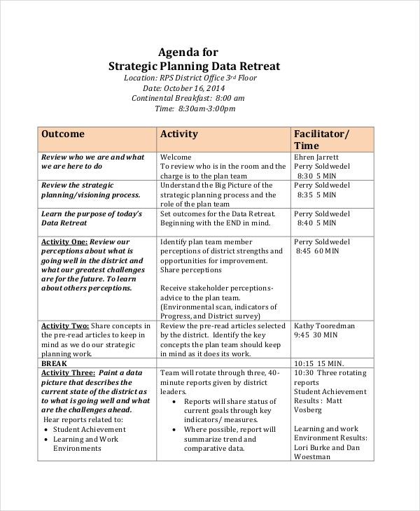 Retreat Agenda Template 7 Free Word PDF Documents Download – Sample Agenda Planner