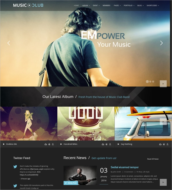 Party, Music Club & Radio Station WordPress Website Theme $59