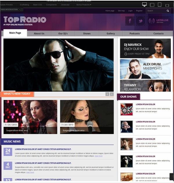 Top Online Radio Station Bootstrap Website Template