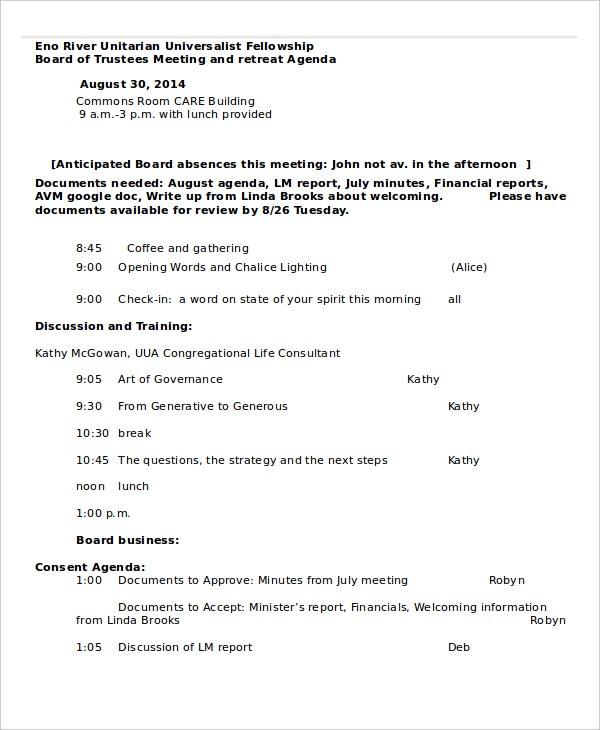 Business Retreat Agenda Template