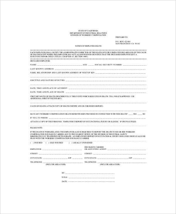 Employee Death Notices Template