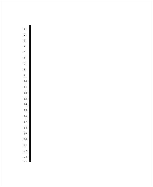 Numbered Lined Paper Template