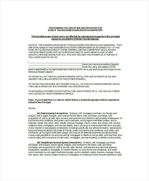 corporate power of attorney template