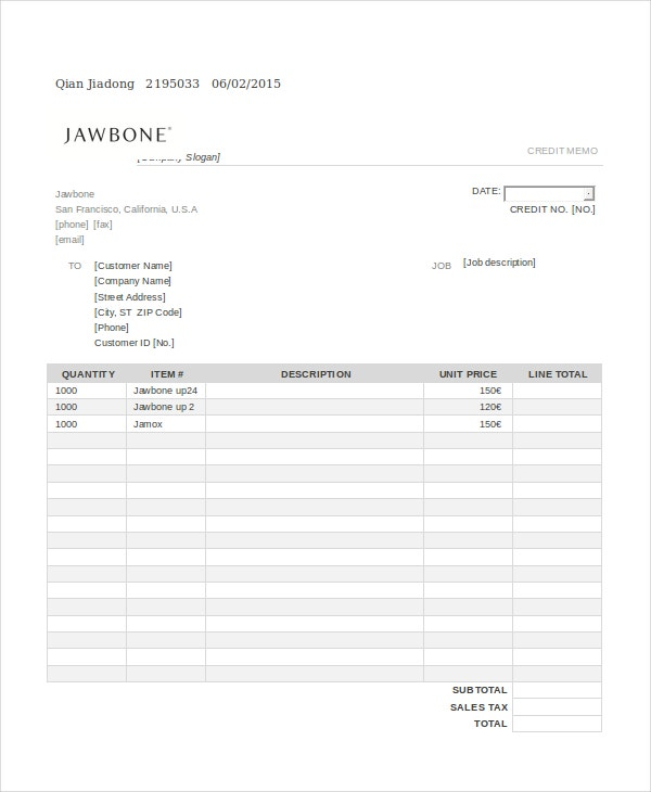 Credit Template - 8+ Free Word, PDF Documents Download | Free ...