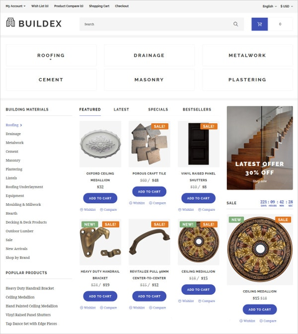 Building Materials eCommerce Template $89