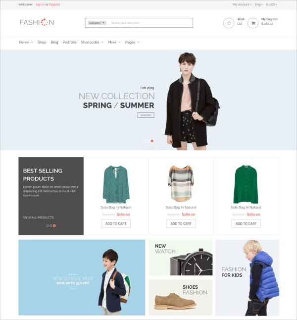 Apparel eCommerce Bootstrap Template $17