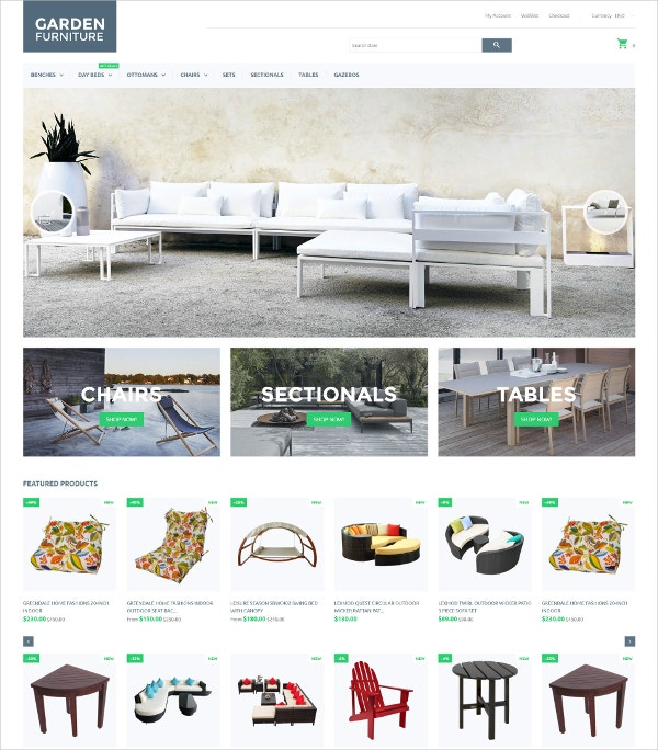 Garden Furniture eCommerce Bootstrap Theme $139