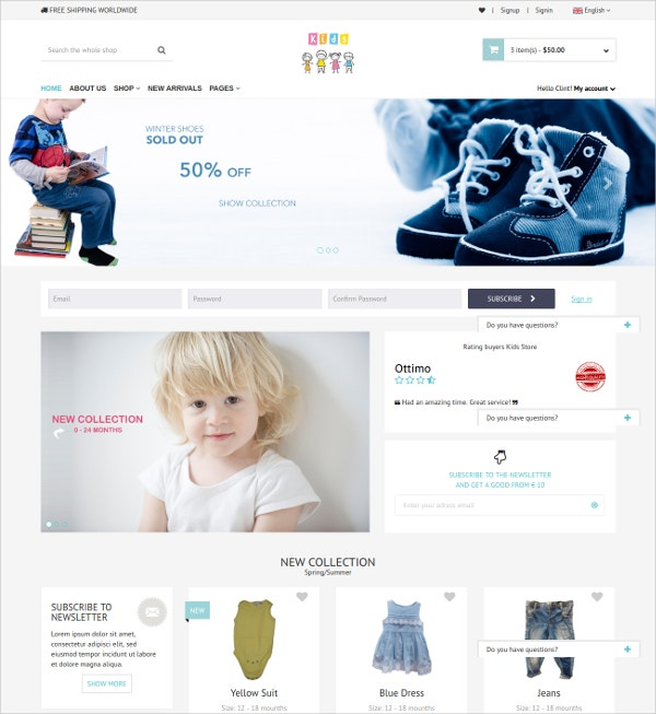 KidStore eCommerce Bootstrap Template $10