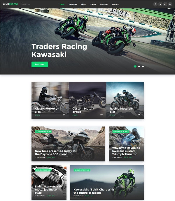 Bike Racing Responsive WordPress Website Theme $45