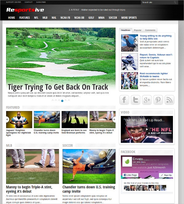 Responsive Sports News Website Theme $39