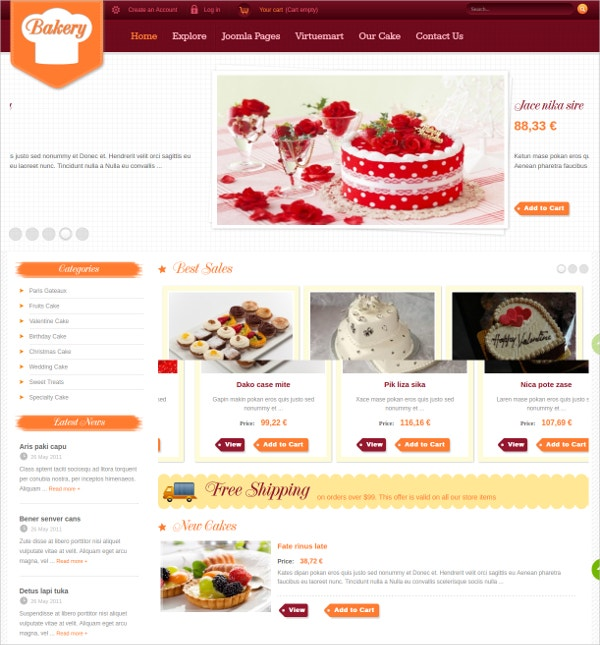 Bakery & Fast Food Joomla Website Theme $39