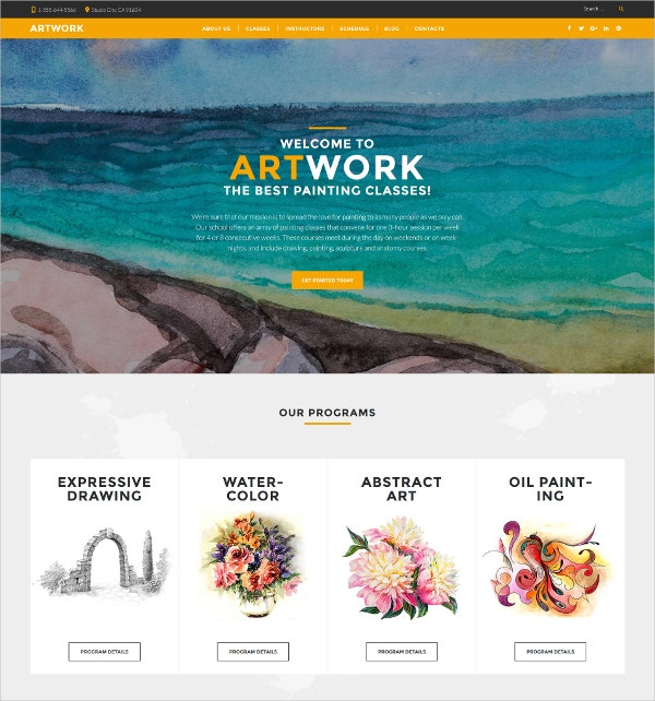 Art School Responsive HTML5 Website Theme $75