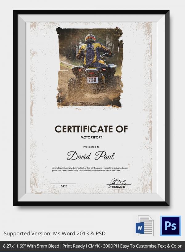 certificate of motor sport