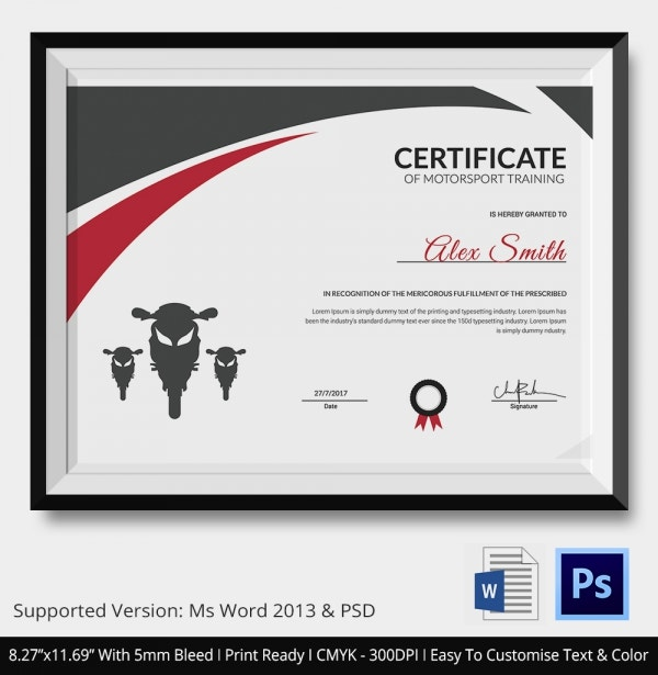 certificate of motosport training