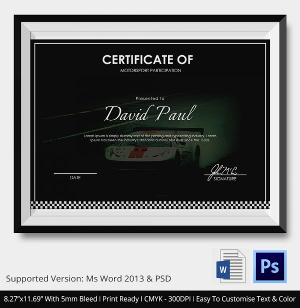 motorsport certificate 5 word psd format download free