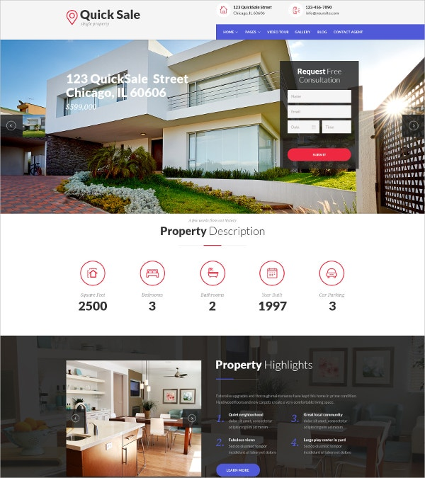 Single Property Real Estate WordPress Theme $59