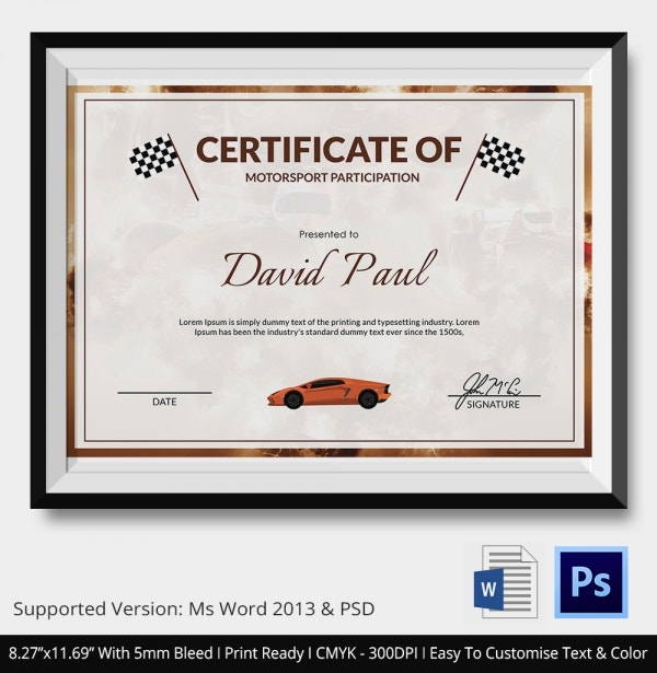 Motorsport Certificate 5 Word PSD Format Download – Sport Certificate Templates for Word