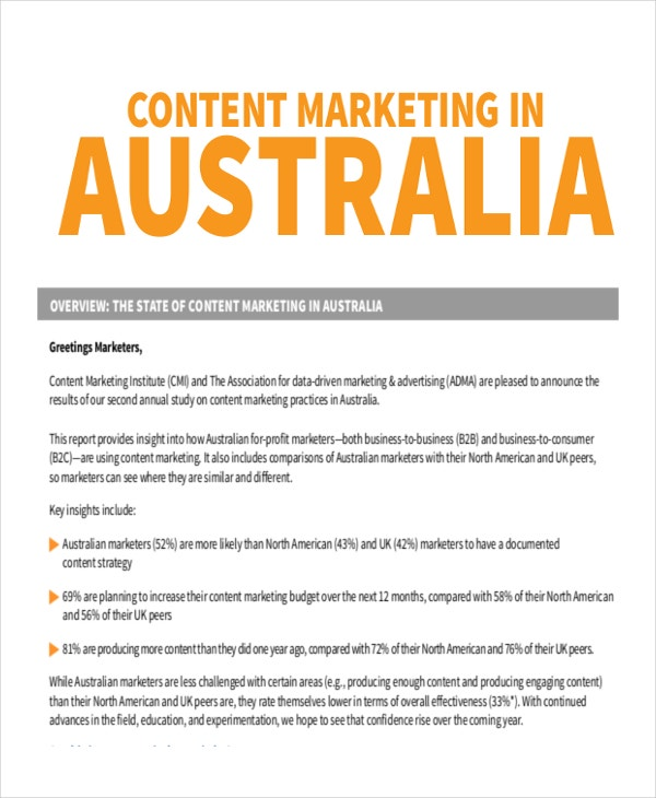 Australian Content Marketing Example