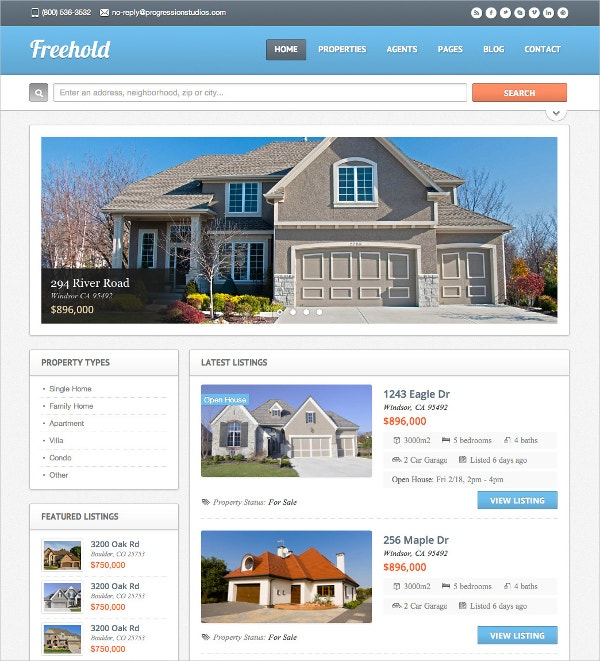 Responsive Real Estate WordPress Theme $59