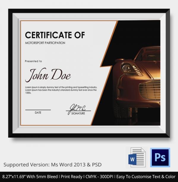 motospport certificate 2
