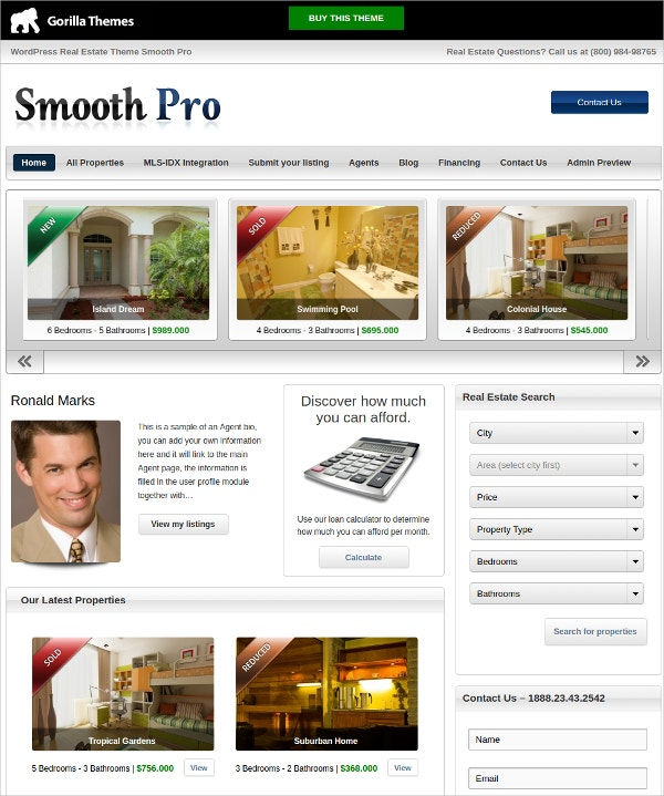 Creative Real Estate WordPress Website Theme $49