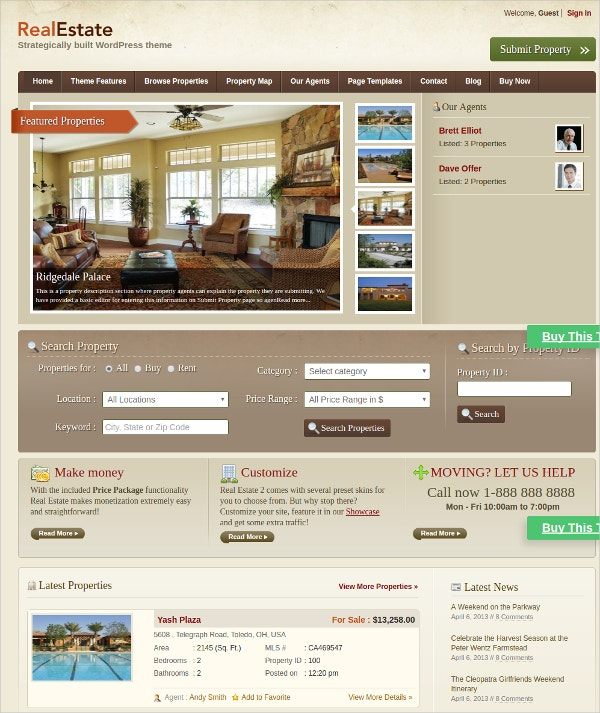 wordpress real estate website theme