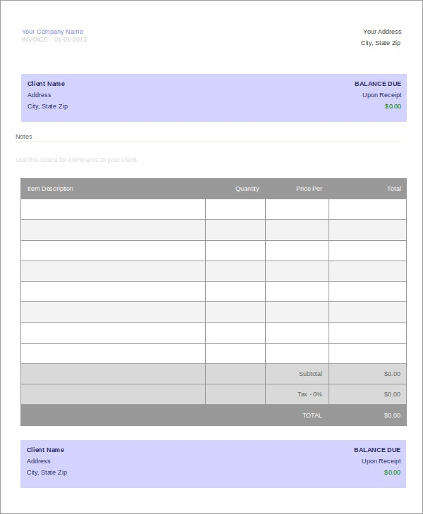 Air Travel Agency Invoice